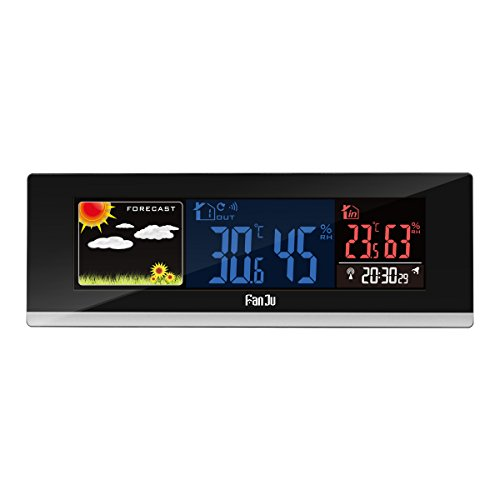 FanJu FJ3368 Color Digital Wireless Weather Forecast Station with USB Chargers Function and Temperature, Humidity with Outdoor Sensor,Black
