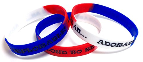 3 Pack of ADORABLE DEPLORABLE Patriotic Rubber Wristbands Silicone Bracelets to Support Trump (Red, White, & Blue, Adult (8