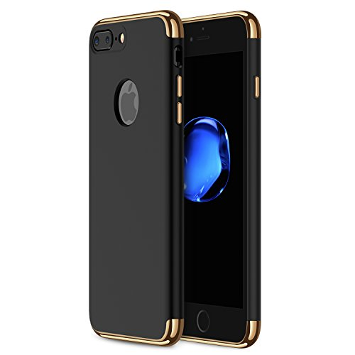 iPhone 7 Plus Case, RANVOO Thin Hard Slim Fit Stylish Case with 3 Detachable Parts for Apple iPhone 7 Plus Only, CHROME GOLD and MATTE BLACK [CLIP-ON] (Stylish Case Iphone)
