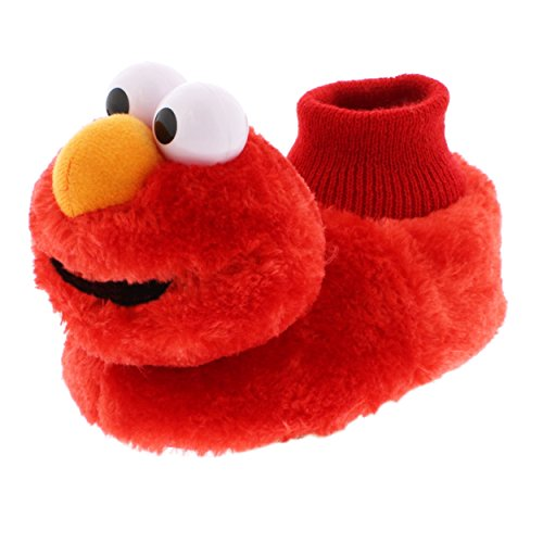 Sesame Street Elmo Little Kids Sock Top Slippers (7-8M US Toddler, Laugh Red) -