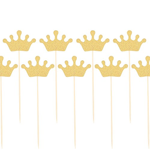 Zicome 50 Pack Double Sided Gold Glitter Crown Cupcake Toppers for Wedding Birthday Party Baby Shower (Wedding Shapes)