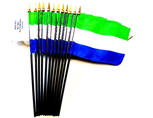 MADE IN USA!! Box of 12 Sierra Leone 4''x6'' Miniature Desk & Table Flags; 12 American Made Small Mini Sierra Leone Flags in a Custom Made Cardboard Box Specifically Made for These Flags by World Flags Direct
