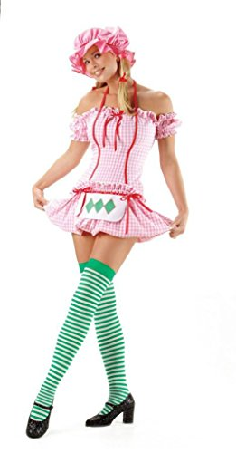 (Leg Avenue Womens Strawberry Doll Apron Outfit Fancy Dress Sexy Costume, XL (14-16))