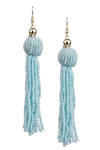Mina Gold Handmade Beaded Urchin Statement 5.2 Inch Drop Extra Long Tassel Shoulder Duster Seafoam Pearl (Pearl Duster)