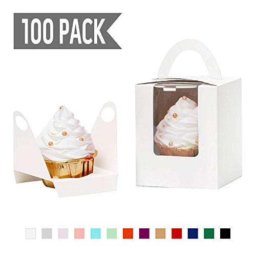 YoTruth Christmas White Cupcake Boxes Single 100 Count with Clear Window Inserts Handle for Wedding Cupcake Favor Boxes Easy Assembly (Box Candle Favor)