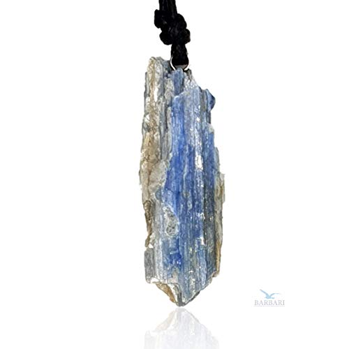 BARBARI Jewelry Raw Blue Kyanite Crystal Necklace | Handmade Gift for Him and Her+ Free Gift Wrap+ Free Gift ! High Quality Natural Rock Healing Gemstone Pendant for Men and Women ()
