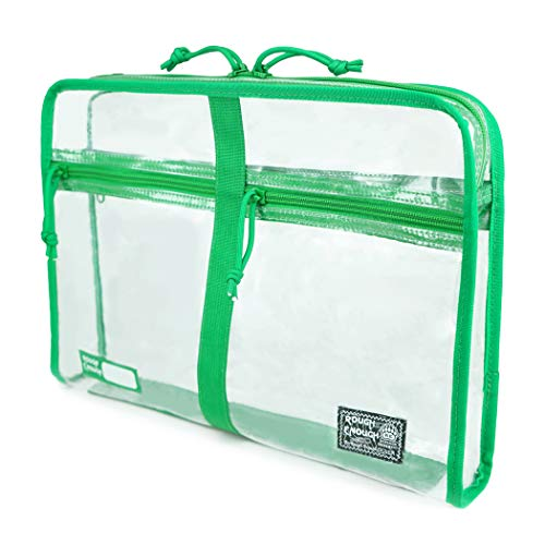 - Rough Enough Clear Plastic Document Organizer Folder File Bag Pouch A4 Big Large for Paper Notebook Manila Envelopes Letter Size Case with Zipper Pockets for Filing Office School Supplies Men