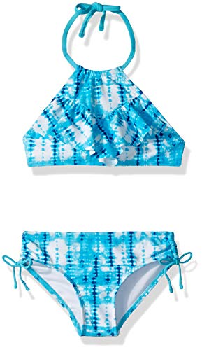 (Kanu Surf Big Girls' Morgan Ruffle Halter Bikini 2-Piece Swimsuit, Pink, 2T, Willow Aqua Tie-Dye, 12)