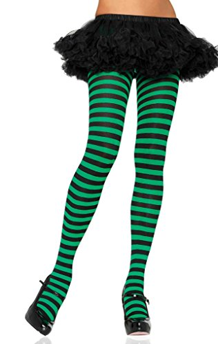 Faerynicethings Adult Nylon Striped Tights - Black/Kelly Green -