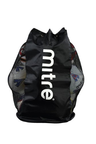 Mitre Mesh Football Bag, Holds 12 Balls Black Football Training
