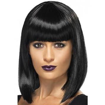Peluca de Cleopatra con flequillo negra