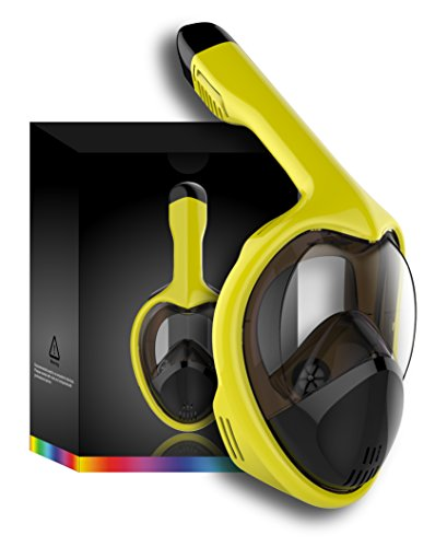 (Doris Snorkel Mask Full Face for Adults and Youth Kids Anti-Fog and Anti-Leak 180 Panoramic View GoPro Compatible Snorkeling Set 3rd Generation Yellow)