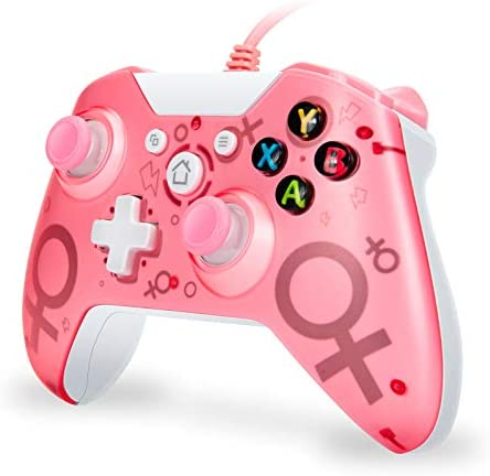 FUXINYA Wired Controller, Compatible with Xbox One/One S/One X/One Elite/Windows PC, USB Wired Gamepad Remote Controller, PC Game Controller with Headset Jack [2020 Newest Version] Pink