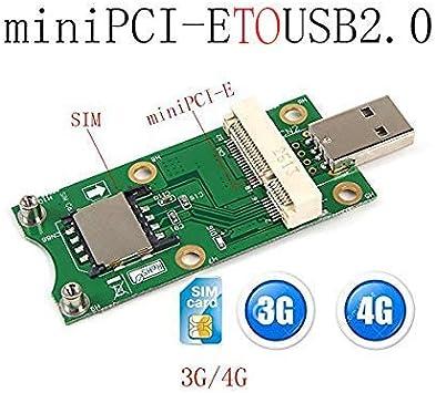 Mini PCI-E a USB 2.0 Adaptador de Prueba 3G/4G WWAN módulo Mini Pci-E Express inalámbrico a USB 2.0 4 Pines Adaptador Tarjeta con módulo de Ranura de ...
