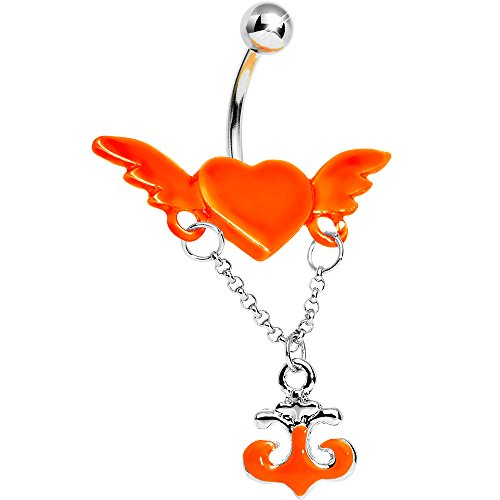 Body Candy Neon Orange Angel Wing Heart Nautical Anchor Drop Dangle Belly Ring