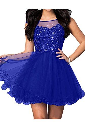 Damen Spitze Mini Abendkleider Sweetheart Festkleid Brautjungfernkleid Royalblau Ballkleider Ivydressing PqAdd
