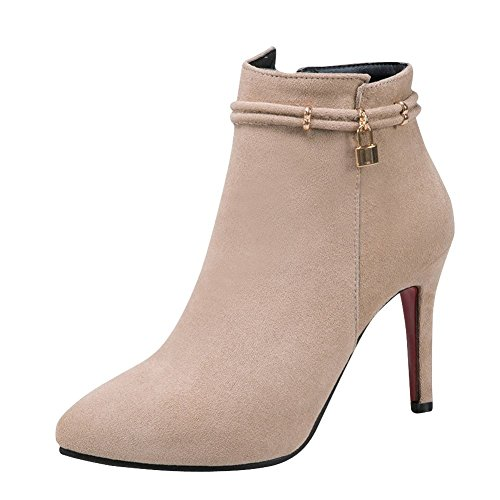 Carolbar Womens Zip Pointed Toe Chic Stiletto High Heel Short Boots Beige ljVFTSRHn