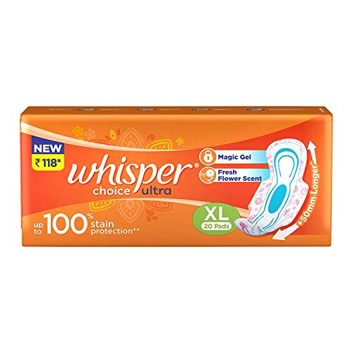 Whisper Choice Sanitary Pads for Women, XL, Pack of 20 Napkins