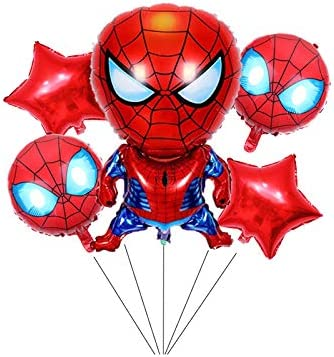 SET OF 10 SPIDER-MAN ROUND FOIL BALLOONS WITH STICKS **PARTY SUPPLIES**