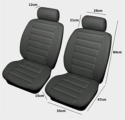 Car Grey Front Leather Feel Covers Protect Original Fabric Leather Velour Seats: