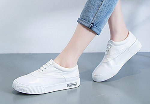 Aisun Femmes Décontracté Bout Rond Bas Haut Épais Semelle Slip Sur Plat Plate-forme Mode Sneakers Chaussures Blanc