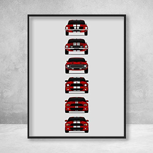 Shelby Mustang GT500 Generations Poster Print Wall Art of the History and Evolution of the Ford Shelby GT500 (Red Car, White Stripes)
