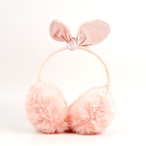 Pink Fluffy Earmuffs Winter Headphones with 3.5mm Connector for Jiayu F1|G2F|G5|JY-S3|S2|S3S PLUS - by DURAGADGET