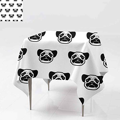 - Square Table Cloth,Seamless Pattern with Cute Pug Dog Heads Texture for Wallpapers Pattern Fills Textile Design Web Page Backgrounds Stain Resistant, Washable 70x70 Inch