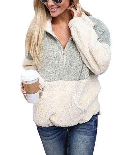 Ouregrace Womens Zip Neck Oversized Color Block Fleece Sweatshirt Pullover Top Outwear (S-XXL) (Grey, L(US 12-14)) - Neck Fleece Shirt Zip