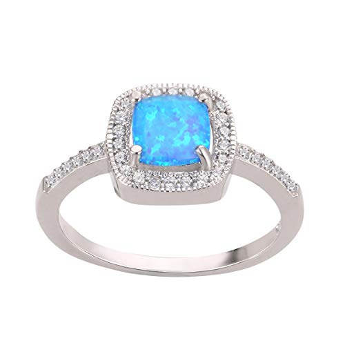 (CloseoutWarehouse Blue Simulated Opal Princess Halo Ring Sterling Silver Size 5)