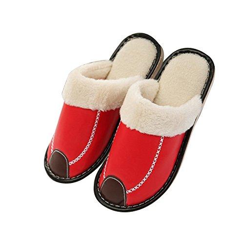 Chaussons d'hiver en PU la 41 40 de 27cm Rose couple accueil femmes coton hommes cuir intérieur home et en Chaussons waterproof chaleur peluche épais de ErrTwqfdx