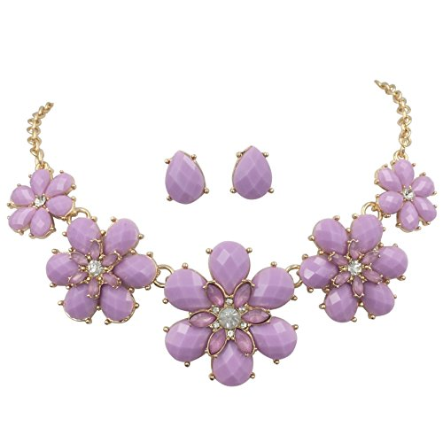 - Gypsy Jewels Fun 5 Flower Dot Bib Bubble Rhinestone Gold Tone Statement Necklace Earrings Set (Lavender Light Purple)