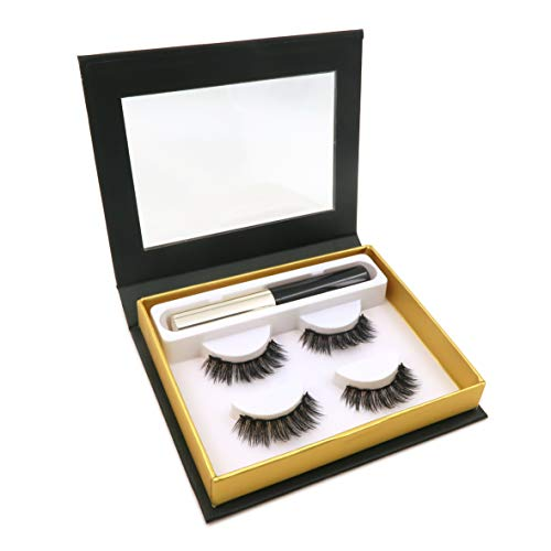 Magnetic False Eyelashes with Magnetic Liquid Eyeliner Set Including 2 pairs Magnetic Eyelashes-No Glue (Magnetic Eyeliner and Magnetic Eyelashes sets)