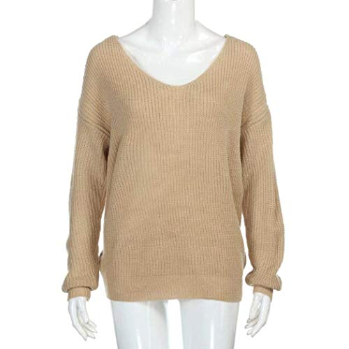 Dos Manches Nu V Tricot Pull Cou Longues El Femme Sweater SfqXRR