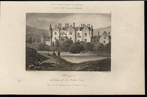 Abbotsford Home of Poet Walter Scott Scotland 1844 antique engraved print