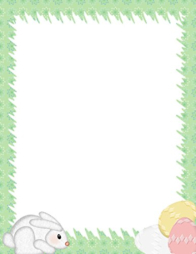 Easter Stationery Bunny (White Easter Bunny With Eggs Stationery Printer Paper 26 Sheets)