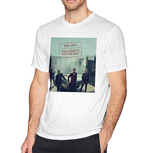 TERRY GARRARD Bon Jovi Band Heart Logo Jon Men's Short Sleeve T-Shirt White 6XL ()