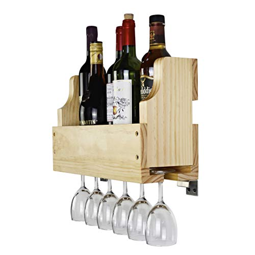 Old Oak Rustic Solid Wood Wall Mounted Wine Rack Wine Bottle Wine Glass Holder Display Rack (Natural)