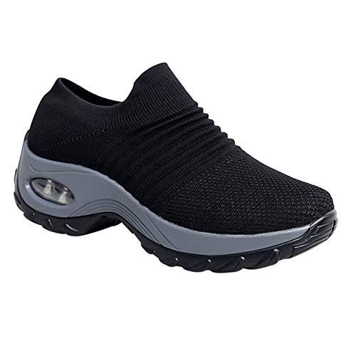Casual Mocassini Sneakers Comode Palestra Da Piattaforma Daytwork Camminate Slip on Nero Scarpe Moda Ginnastica Antiscivolo Donna Sneaker PwHnqAR7
