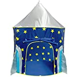 USA Toyz Rocketship Play Tent for Boys and Girls - Space-Themed Playhouse Kids Tent w/ Projector Toy and Tent Carry Case