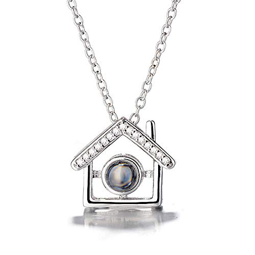 ZHJ8 Custom Photo Necklace, 925 Sterling Silver Memory of Love Pendant Necklace,Different Languages I Love You Necklace for Women Girls (Silver Full Color ()