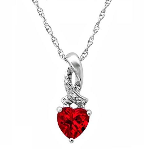 Ruby Diamond Pendant Necklace - Heart Shape Created Ruby and Diamond Pendant-Necklace in Sterling Silver