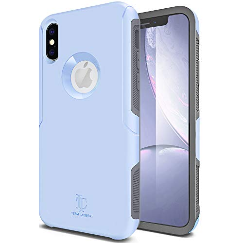 TEAM LUXURY iPhone X Case, [Defense-x Series] Dura Layer Shock Absorbing Technology Protective Phone Case - for Apple iPhone X/Xs 5.8 Inch (Baby Blue/Gray)