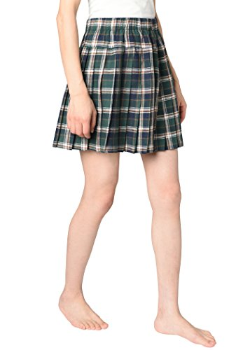 - JustinCostume Women's Plaid Pleated Skirt School Girl Costume 2X Green