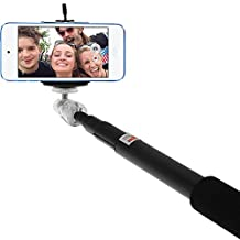 iGadgitz Black Extendable Telescopic Handheld Self Portrait Selfie Monopod Stick with Adjustable Phone Holder and Wrist Strap for Apple iPod Touch 4th, 5th, 6th Gen