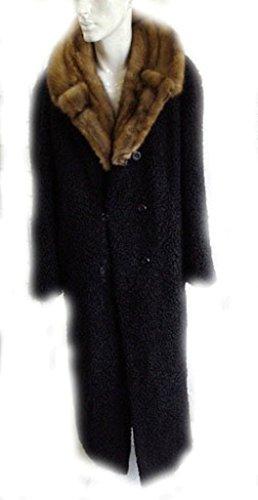 Oliverfurs NEW REFURBISHED BLACK PERSIAN LAMB ASTRAKHAN SABLE COLLAR FUR COAT JACKET MEN MAN SIZE (Persian Lamb Fur Coat Jacket)