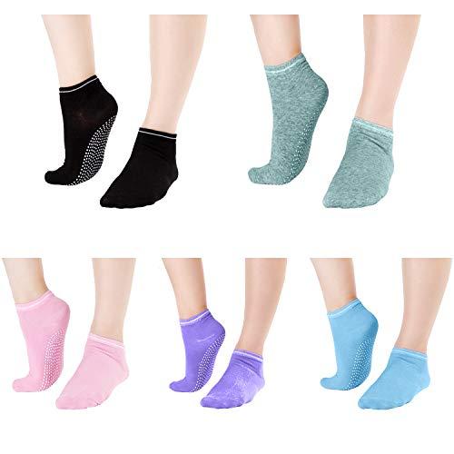 Non Skid Socks For Women - Elutong Grip Socks Barre 5 Pack Sticky Pilates Yoga Labor Exercise Sox by Elutong