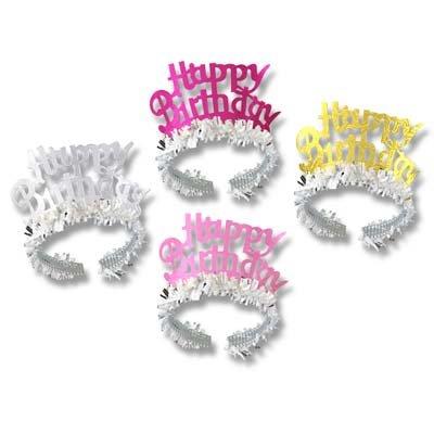 (Pkgd Happy Birthday Tiaras w/Fringe (1 per package))