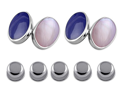 - Sterling Silver Cufflinks Lapis and Pink Shell Shirt Dress Studs Gift Set