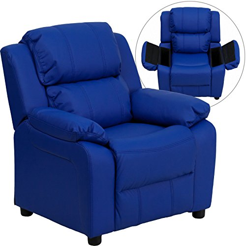 Eight24hours Deluxe Heavily Padded Contemporary Blue Vinyl Kids Recliner, Storage Arms